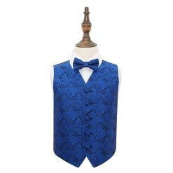 Royal Blue Paisley Wedding Waistcoat & Bow Tie Set for Boys