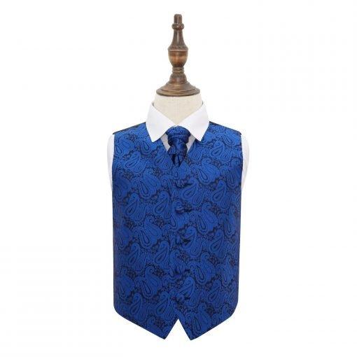 Royal Blue Paisley Wedding Waistcoat & Cravat Set for Boys