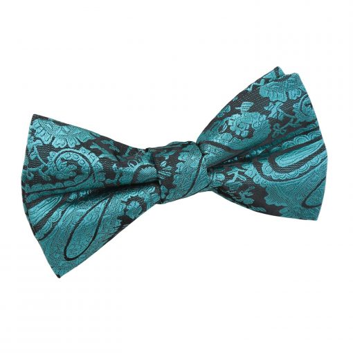Teal Paisley Pre-Tied Bow Tie for Boys