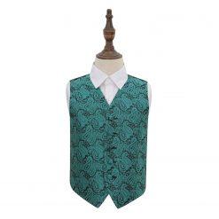 Teal Paisley Wedding Waistcoat for Boys