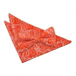Burnt Orange Paisley Bow Tie & Pocket Square Set