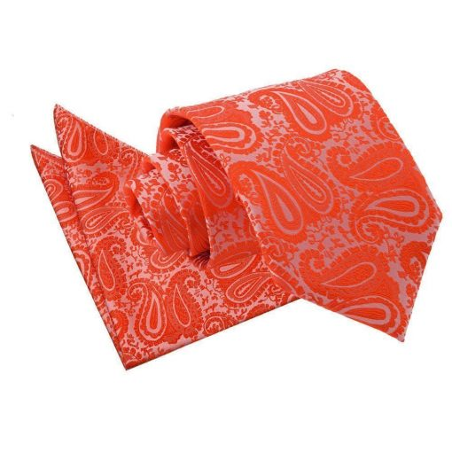 Burnt Orange Paisley Tie & Pocket Square Set