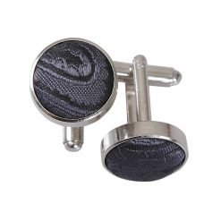 Charcoal Grey Paisley Cufflinks