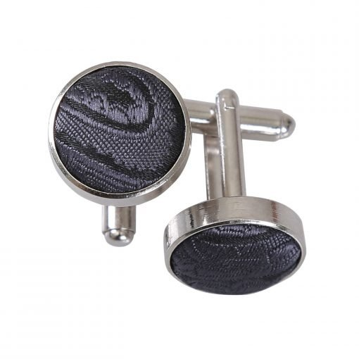 Charcoal Grey Paisley Cufflinks
