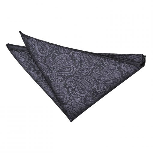 Charcoal Grey Paisley Handkerchief / Pocket Square