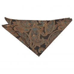 Autumn Orange Dahlia Paisley Pocket Square