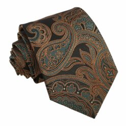 Autumn Orange Dahlia Paisley Modern Classic Tie