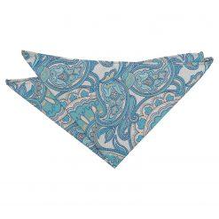 Turquoise Dahlia Paisley Pocket Square