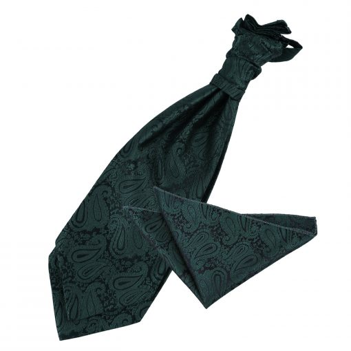 Emerald Green Paisley Wedding Cravat & Pocket Square Set