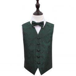 Emerald Green Paisley Wedding Waistcoat & Bow Tie Set for Boys