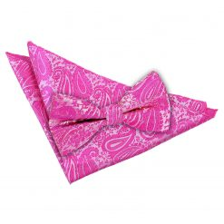 Baby Pink Paisley Bow Tie & Pocket Square Set
