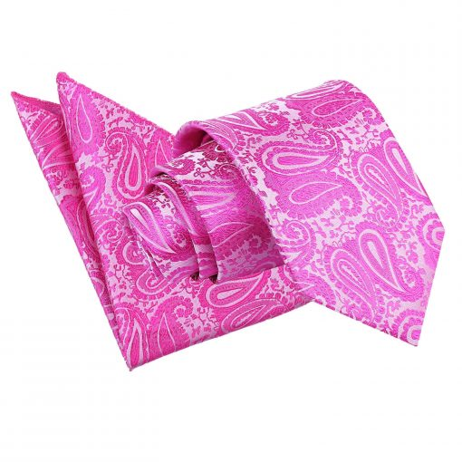 Fuchsia Pink Paisley Tie & Pocket Square Set