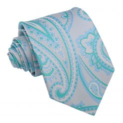 Aqua Gardenia Paisley Modern Classic Tie