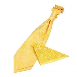 Gold Paisley Wedding Cravat & Pocket Square Set