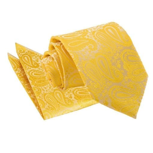 Gold Paisley Tie & Pocket Square Set