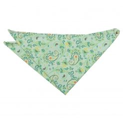 Mint Green Iris Paisley Pocket Square