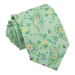 Mint Green Iris Paisley Modern Classic Tie