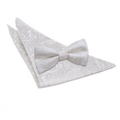 Ivory Paisley Bow Tie & Pocket Square Set