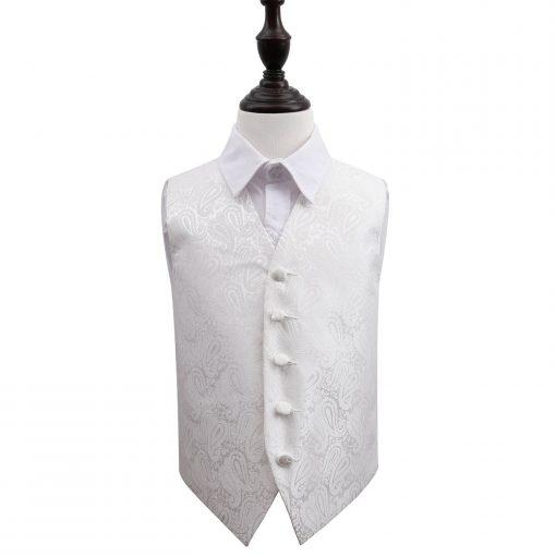 Ivory Paisley Wedding Waistcoat for Boys
