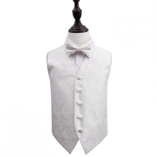 Ivory Paisley Wedding Waistcoat & Bow Tie Set for Boys