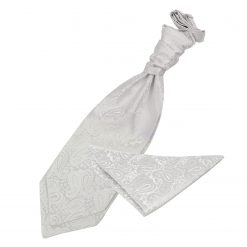 Ivory Paisley Wedding Cravat & Pocket Square Set