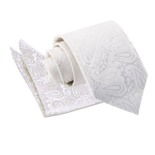Ivory Paisley Tie & Pocket Square Set