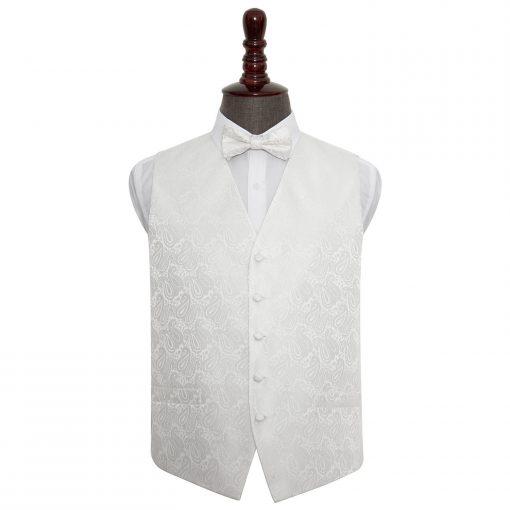 Ivory Paisley Wedding Waistcoat & Bow Tie Set