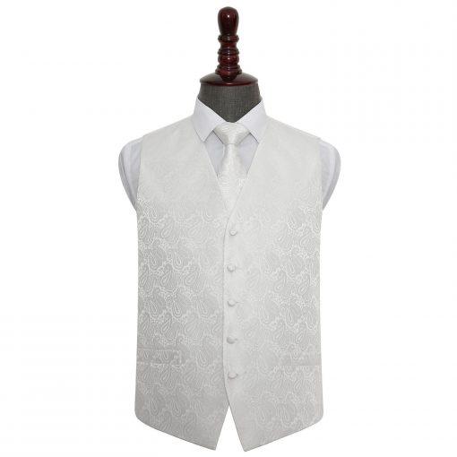 Ivory Paisley Wedding Waistcoat & Tie Set