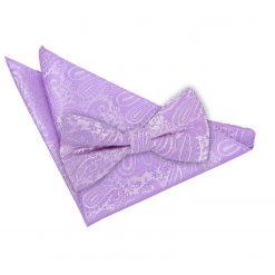 Lilac Paisley Bow Tie & Pocket Square Set