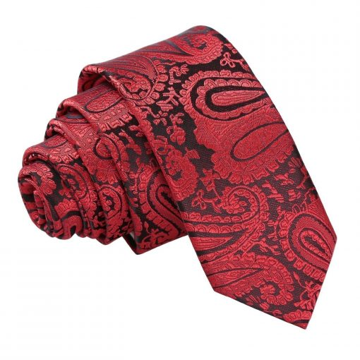 Black & Red Paisley Skinny Tie