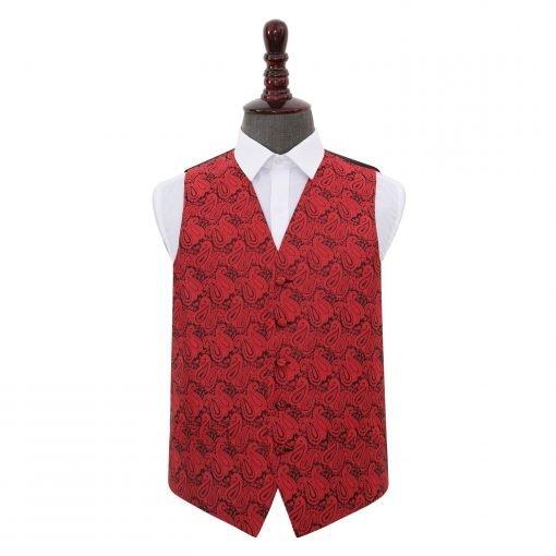 Black & Red Paisley Wedding Waistcoat