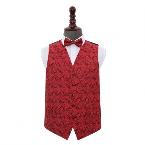 Black & Red Paisley Wedding Waistcoat & Bow Tie Set