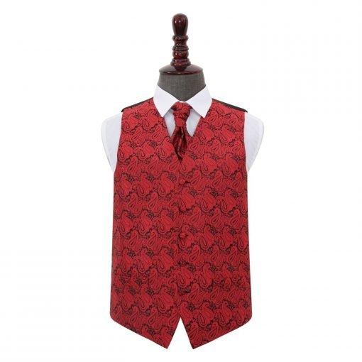 Black & Red Paisley Wedding Waistcoat & Cravat Set