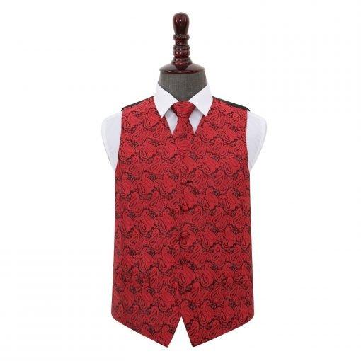 Black & Red Paisley Wedding Waistcoat & Tie Set