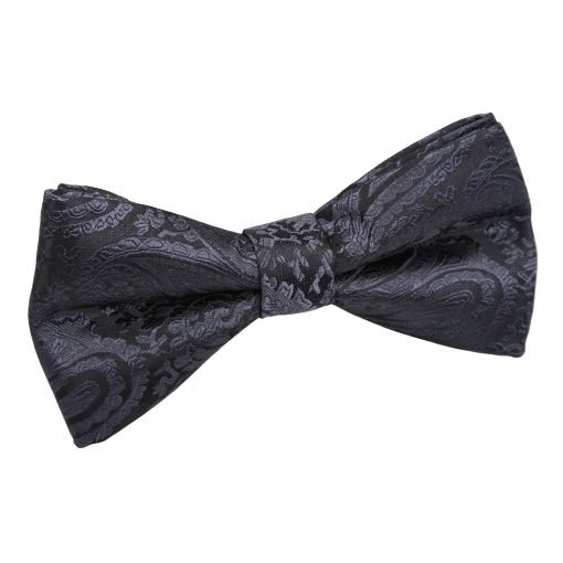 Charcoal Grey Paisley Pre-Tied Bow Tie