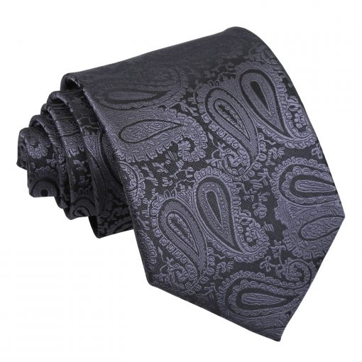 Charcoal Grey Paisley Classic Tie