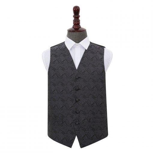 Charcoal Grey Paisley Wedding Waistcoat