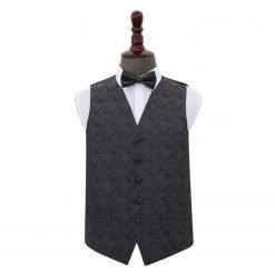Charcoal Grey Paisley Wedding Waistcoat & Bow Tie Set