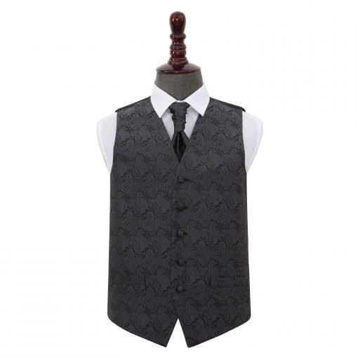 Charcoal Grey Paisley Wedding Waistcoat & Cravat Set