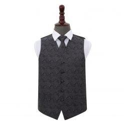Charcoal Grey Paisley Wedding Waistcoat & Tie Set