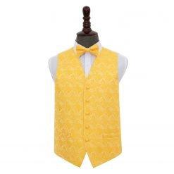 Gold Paisley Wedding Waistcoat & Bow Tie Set