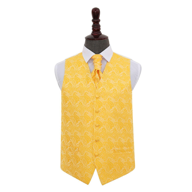 9b1491f6c3c Men's Paisley Gold Wedding Waistcoat & Cravat Set