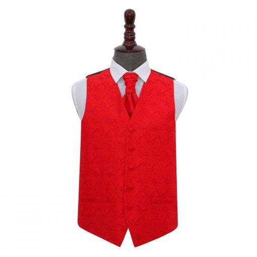 Red Paisley Wedding Waistcoat & Cravat Set