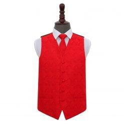 Red Paisley Wedding Waistcoat & Tie Set