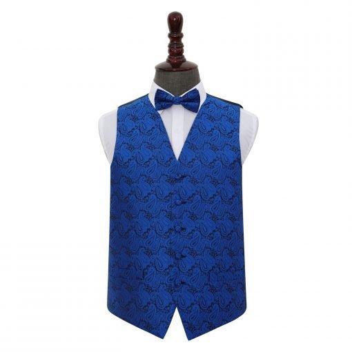 Royal Blue Paisley Wedding Waistcoat & Bow Tie Set