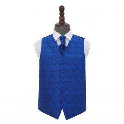 Royal Blue Paisley Wedding Waistcoat & Cravat Set