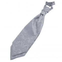 Silver Paisley Pre-Tied Wedding Cravat