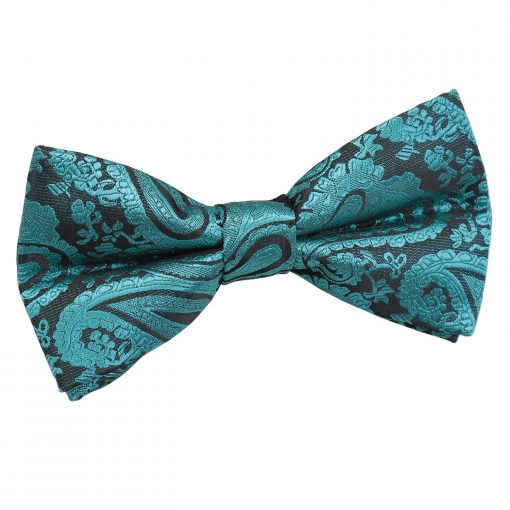 Teal Paisley Pre-Tied Bow Tie
