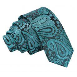 Teal Paisley Skinny Tie