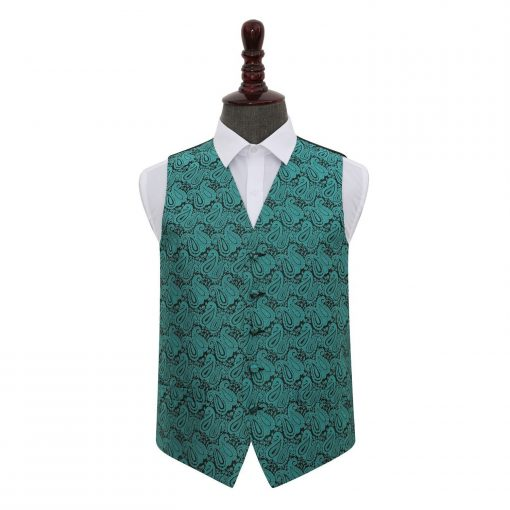 Teal Paisley Wedding Waistcoat